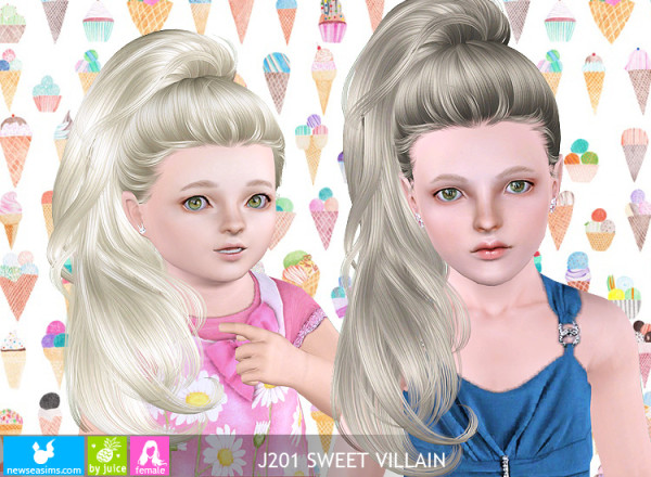 J201 Sweet Villain huge ponytail hairstyle by NewSea for Sims 3