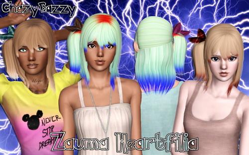 Zauma`s Heartfilia hairstyle retextured by Chazy Bazzy for Sims 3