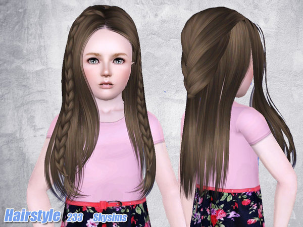 Braided hairstyle 233 by Skysims for Sims 3