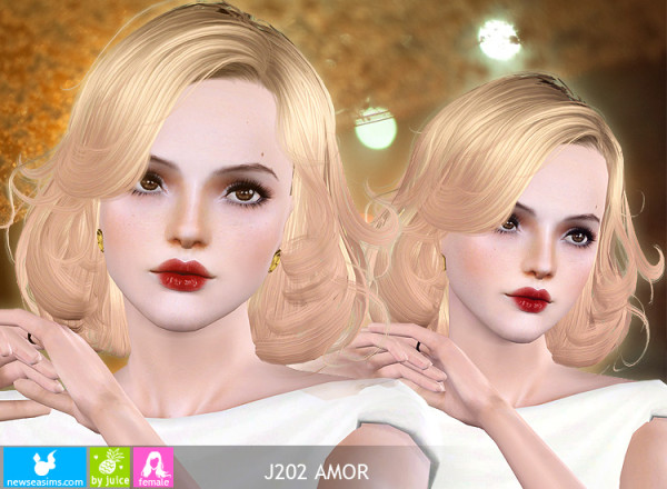 Retro wave bob hairstyle J202 Amor by Newsea for Sims 3