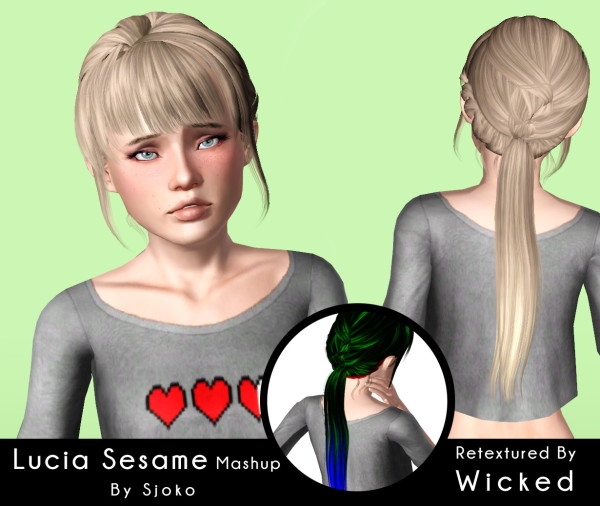 Newsea`s Lucia and Sesame hairstyle retextured by Magically for Sims 3