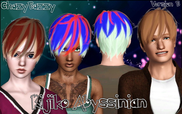 Kijiko Abyssinian hairstyle retextured by Chazy Bazzy for Sims 3