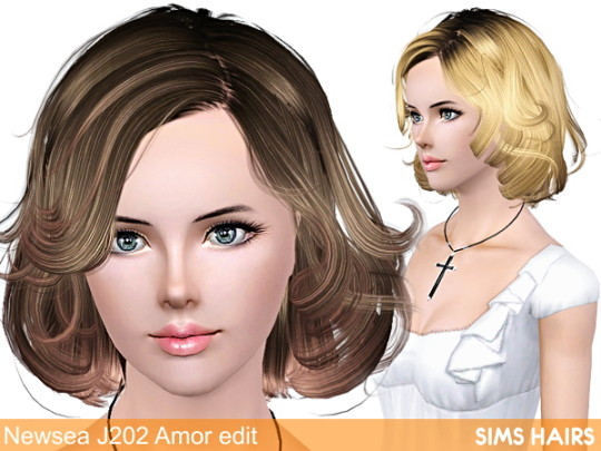 Newsea's J202 AF hairstyle retexture by Sims Hairs