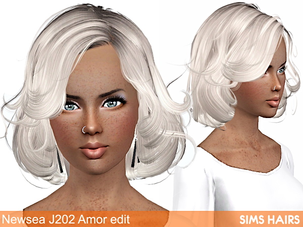 Newsea's J202 AF hairstyle retexture by Sims Hairs for Sims 3