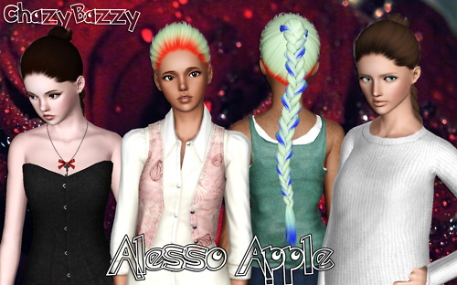 Alesso`s Apple hairstyle retextured by Chazy Bazzy for Sims 3