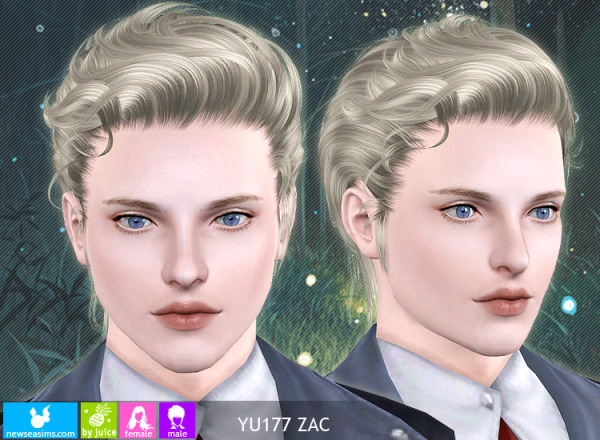 Combed back hairstyle YU177 by NewSea for Sims 3