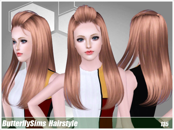 Wrapped bangs hairstyle 135 by Butterfly Sims for Sims 3