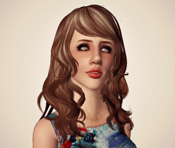 Newsea's Eyes On Me hairstyle retextured by Marie Antoinette for Sims 3