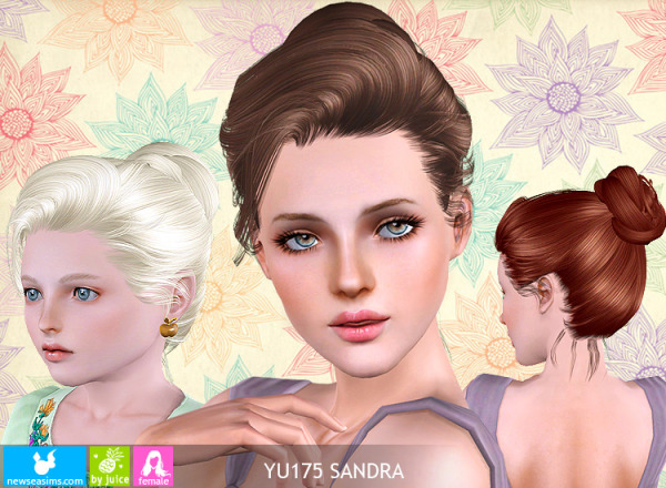 Elegant bun YU175 Sandra hairstyle by NewSea for Sims 3
