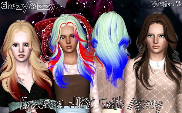 Newsea`s J182 Melt Away hairstyle retextured by Chazy Bazzy for Sims 3