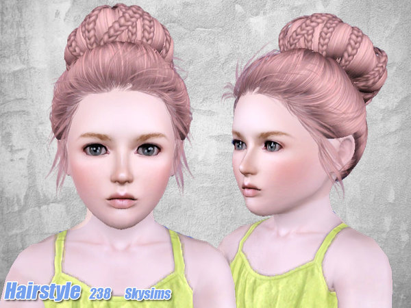 Braided bun hairstyle 238 by Skysims for Sims 3