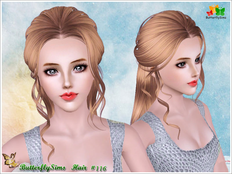 sims 3 hair styles half up with curly stripes hairstyle by butterfly sims 9859