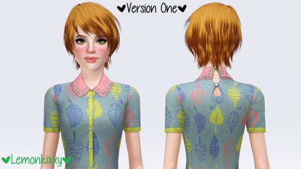 Kijiko Japanese Bobtail hairstyle retextured by Lemonkixxy for Sims 3