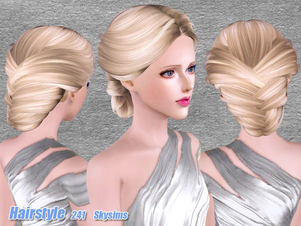 Romantic bun hairstyle 241 by Skysims by The Sims Resource for Sims 3