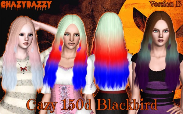 Cazy 150d Blackbird hairstyle retextured by Chazy Bazzy for Sims 3