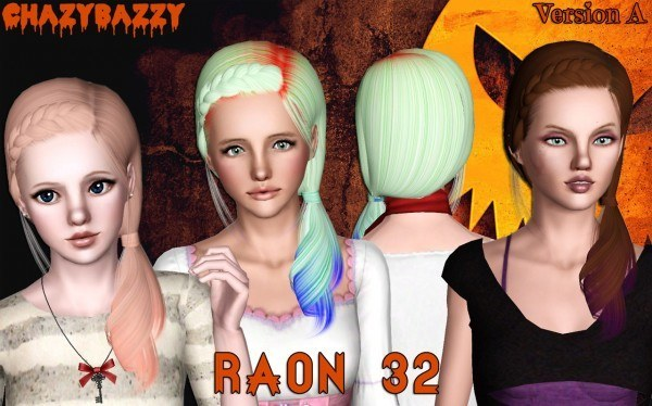 Raon 32 hairstyle retextured by Chazy Bazzy for Sims 3