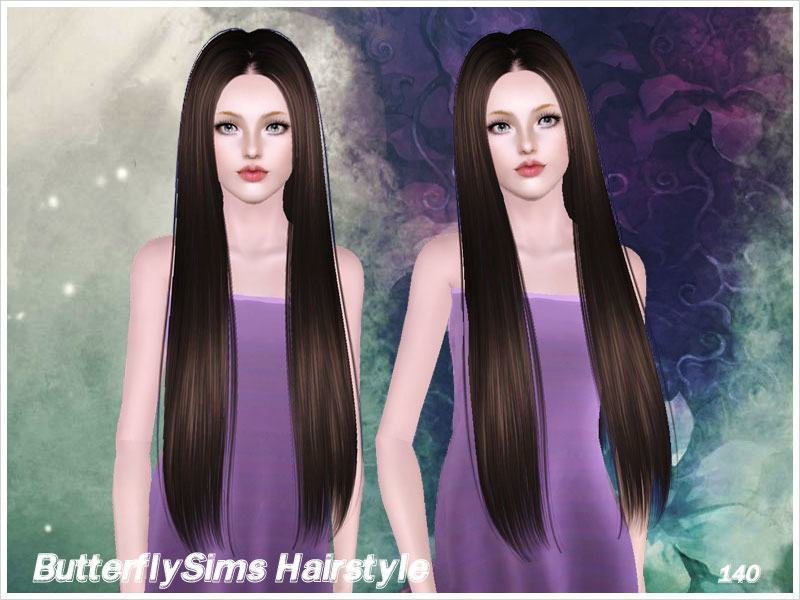 Middle Part Straight Hairstyle 140 By Butterfly Sims