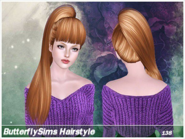 Side ponytail hairstyle138 by Butterfly Sims for Sims 3
