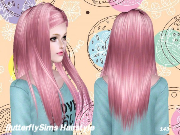 Glossy hairstyle 143 by Butterfly Sims for Sims 3