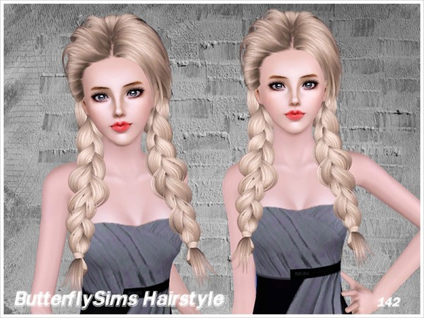 Two loose fishtails hairstyle 142 by Butterfly Sims for Sims 3