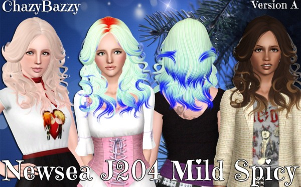 Newsea`s J204 Mild Spicy hairstyle retextured by Chazy Bazzy for Sims 3