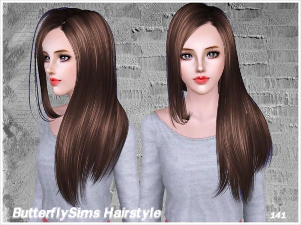 Shiny straight hairstyle 141 by Butterfly Sims for Sims 3