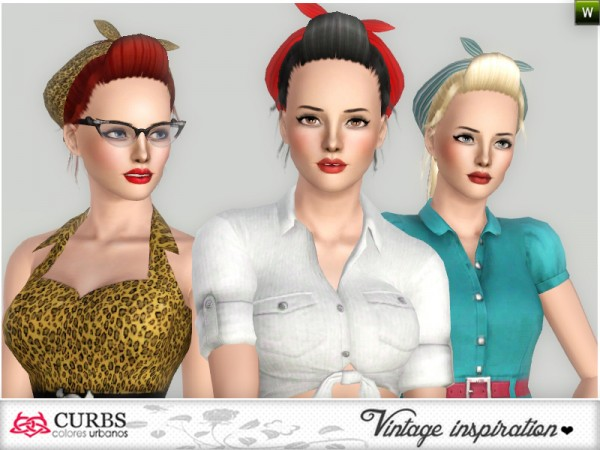 My everyday Pinup Hairstyle with bandana by Colores Urbanos by The Sims Resource for Sims 3