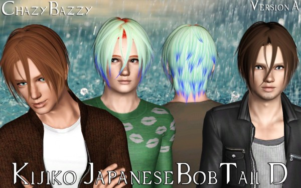 Kijiko Japanese BobTail D hairstyle retexty=ured by Chazy Bazzy for Sims 3