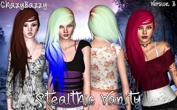 Stealthic Vanity hairstyle retextured by Chazy Bazzy for Sims 3