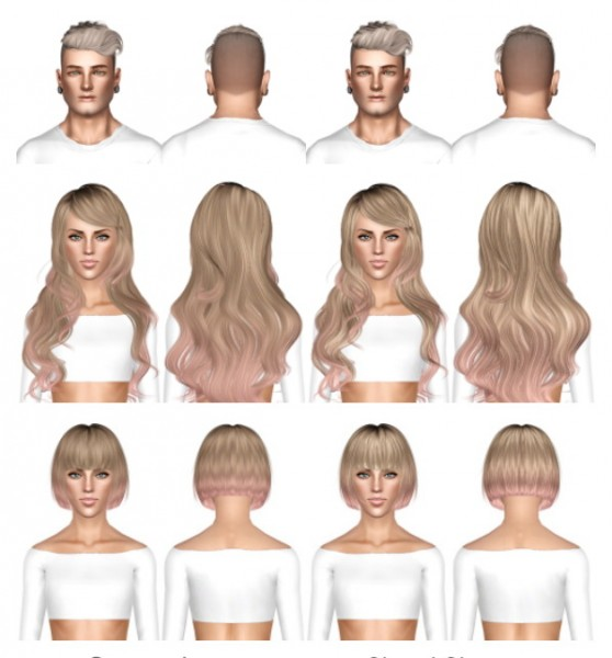 Alesso`s Darko, Newsea Sparklers and Nightcrawler Moonrise hairstyles retextured by July Kapo for Sims 3