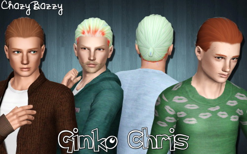 Ginko Chris hairstyle retextured by Chazy Bazzy for Sims 3