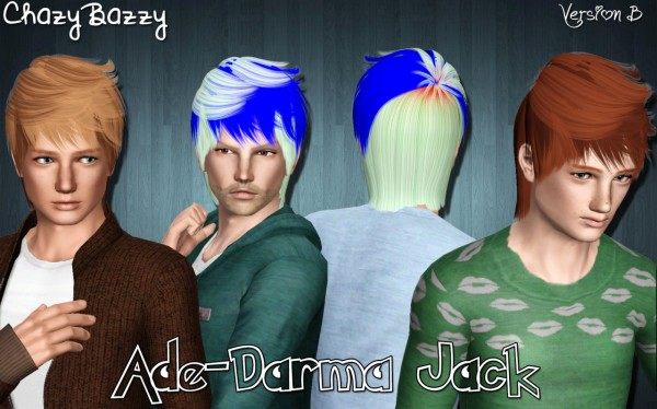 Ade Darma Jack hairstyle retextured by Chazy Bazzy for Sims 3