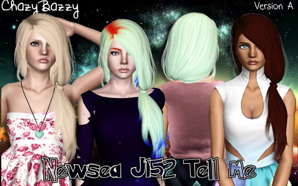 Newsea`s J152 Tell Me hairstyle retextured by Chazy Bazzy for Sims 3