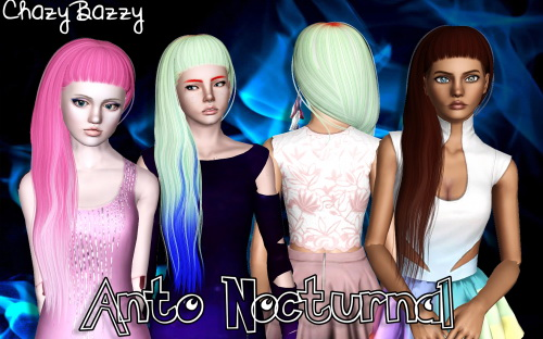 Anto`s   Nocturnal hairstyle retextured by Chazy Bazzy for Sims 3
