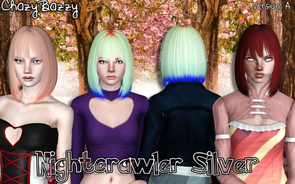 Nightcrawler`s Silver hairstyle retextured by Chazy Bazzy for Sims 3