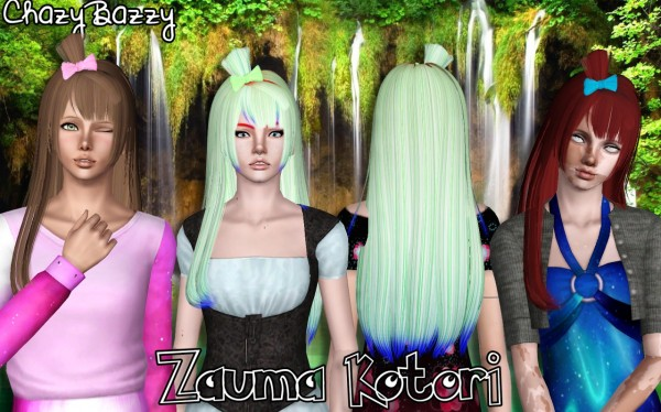 Zauma Kotori and Anna hairstyles retextured by Chazy Bazzy for Sims 3