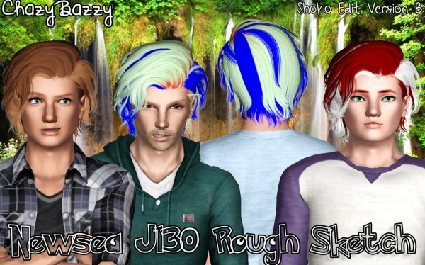 Newsea`s J130 Rough Sketch hairstyle retextured by Chazy Bazzy for Sims 3
