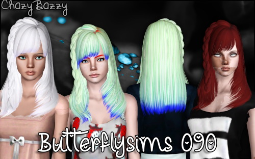 Butterfly`s 090 hair retextured by Chazy Bazzy for Sims 3
