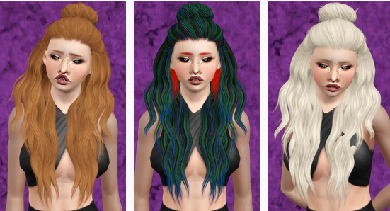 Leahlillith's Night hairstyle retextured by Beaverhausen for Sims 3